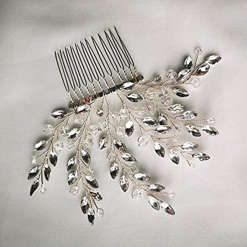Wedding Hair Comb Flower Hair Accessories,Hojas de cristal hechas a mano Peineo de cabello Piedra de la boda Piece Accesorios nupciales Hecho a mano Joyas de pelo de dama de honor, peines del lado de