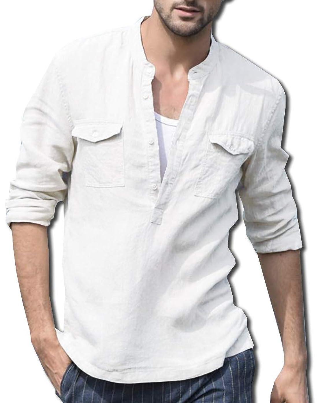 教育直径理想的には[ボルソ] リネン ヘンリーネック 綿麻 カジュアル シャツ メンズ (ブラック、ホワイト、ブルー、ベージュ) M ~ XXL