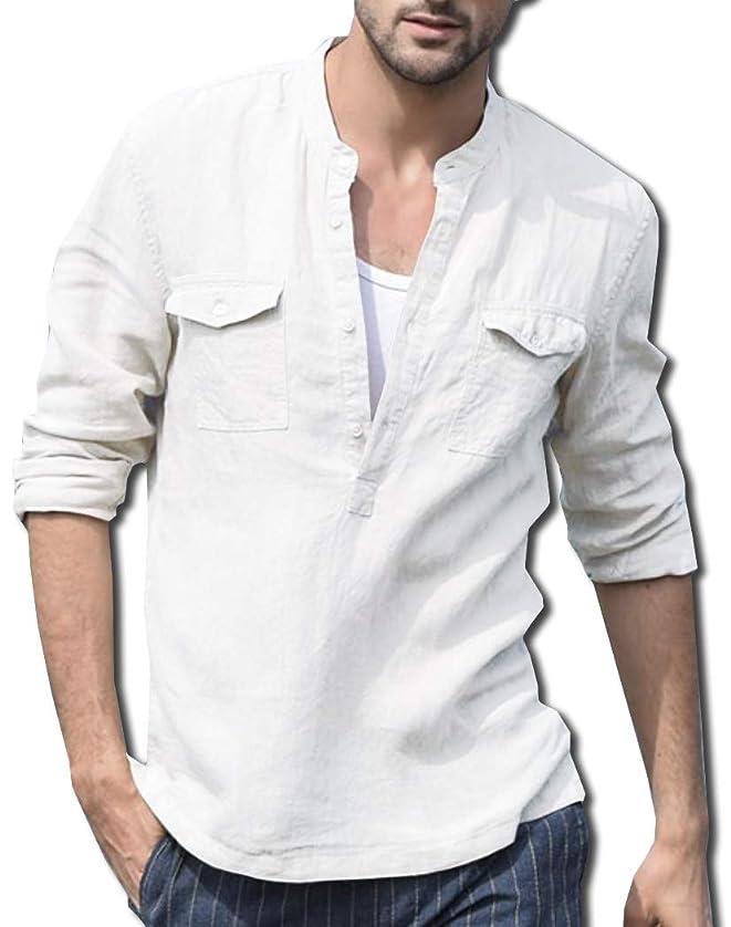 余剰責める息子[ボルソ] リネン ヘンリーネック 綿麻 カジュアル シャツ メンズ (ブラック、ホワイト、ブルー、ベージュ) M ~ XXL