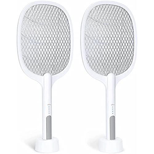 Bug Zapper, lámpara y raqueta para mosquitos 2 en 1, matamoscas eléctrico para interiores con malla táctil de 3 capas para interiores y exteriores, cocina, oficina, patio trasero, patio (paquete de 2)