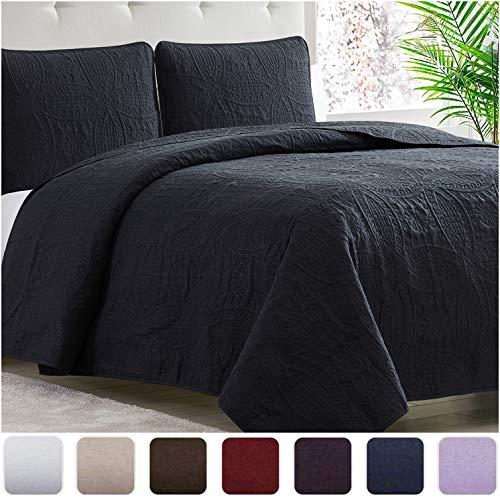 Mellanni Bedspread Coverlet Set Black Comforter Oversized 3-Piece Quilt Set (Full/Queen, Black)