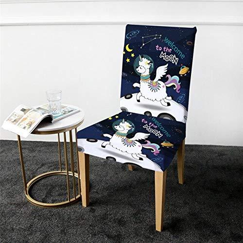 QZXCD Stoelbedekking Beddengoed Outlet Space Elastic Stoelbedekking druk Spandex stoelbedekking Moon Star Alpaca Sheep Cartoon Hoes 4er Pack D