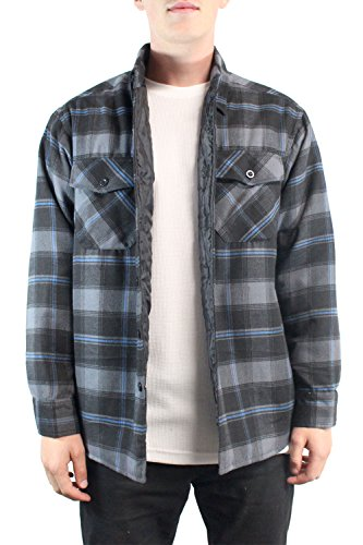 YAGO Men's Flannel Jackets (2X-Large,Black-Gray-Blue)