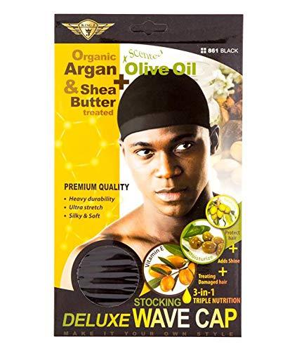 KING J ORGANIC DELUXE STOCKING WAVE CAP BLACK