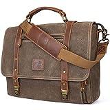 Manificent Laptop Messenger bag for Mens 15.6 Inch, Waterproof Vintage Genuine Leather Mens Briefcase shoulder bag 16 Storage Pockets, Waxed Canvas Leather Computer Business Satchel Work Bag (Brown)