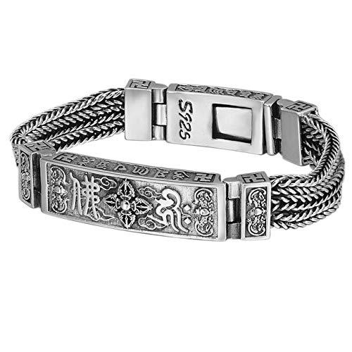 S925 Sterling Silber Vintage Thai Silber Klassische Pferdepeitsche Hanf Seil Vajra Herren Armband
