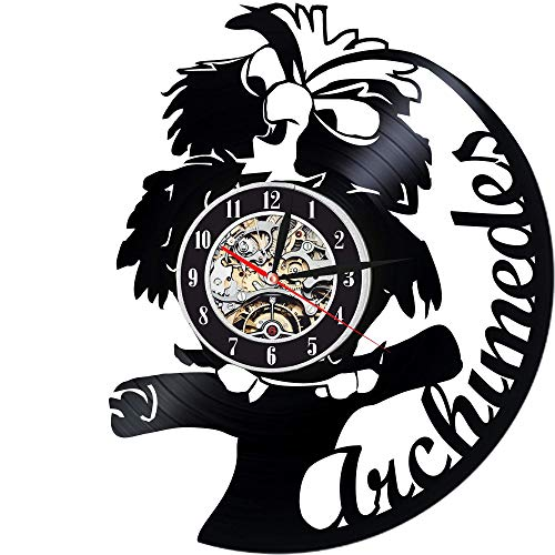 Levescale - Archimedes Vinyl Wall Clock - Exclusive Bird Design - Perfect Cartoon Gift for Kids, Boy Or Girl - Decortion for Classroom, Bedroom Or Play Room - Disney Owl Stone Sword