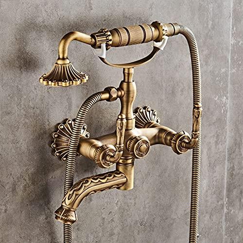 Retro Bate Edge Ajuste Simple Ducha Sistema Bañera Grifo Grifo con Ducha Mano Bañera De Latón Antigua Bañera Faucet Wall Set,Antike Bronze