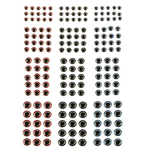 Andux Occhi Adesivo Pesca Esca per Mosche Esche Artificiali 183 pz Formato Misto 3/4/5/ 6mm FDLSYY-01 (3D)