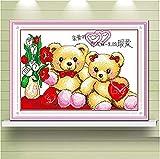 Punto de cruz Kit Bordados para niños y adultos Dibujos animados de anime winnie the pooh,16 x 20 pulgadas DIY costura punto de cruz set decoración de pared principiante(11CT)