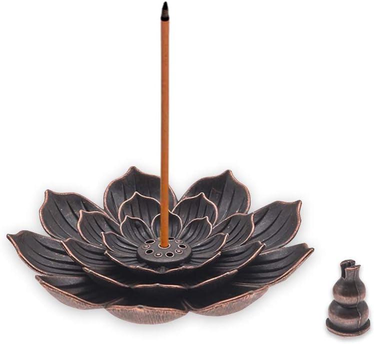 Focal20 Incense Holder-Detachable Incense Stick Holder-Cone Incense Holder-Alloy Lotus Holder Burner for Home Fragrance Decor
