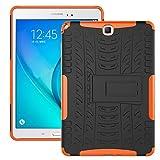 Funda Galaxy Tab A 9.7 2015 (SM-T550/SM-T555), Carcasa Original Todo Nuevo Caso 360 Grados Protección/PC + TPU 2-In-1/Heavy Duty Tough Armor/Soporte para Galaxy Tab A 9.7-Naranja