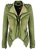YYZYY Femme Blousons Motard pour par MDK Punk Zipper Ultra-Doux Cuir Artificiel/Denim 2 matériaux Veste Mince Women's Biker PU...