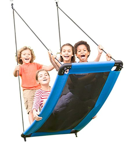 """HearthSong SkyCurve Platform Tree Swing with Comfy Mat and Padded Steel Frame, 60""""L x 32""""W, Holds up to 400 lbs."""