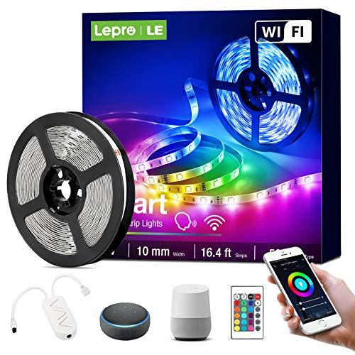 Lepro LED Strip 5M, Alexa LED Streifen Lichterkette, Smart Band Lichter, Wifi RGB Dimmbar Lichtleiste Light, Lichtband Leiste, Kompatibel mit Alexa, Google Home, nur 2.4GHz