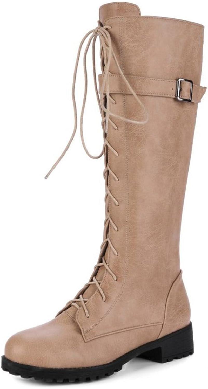 TAOFFEN Women Autumn Winter Western Flat Martin Boots Zipper Long Boots