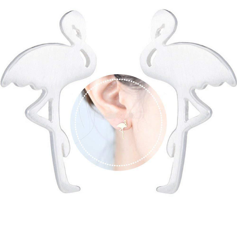 FTA独特の白い楽しいイヤリング:フラミンゴイヤリングスーツ女性{ブラックジュエリーポーチのギフトレディ}