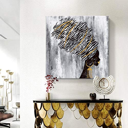 amatop Large Framed African American Wall Art Fashion Women Portrait Gold and Black Canvas Print for Living Room Bedroom Girl Room Decor 32x32inch