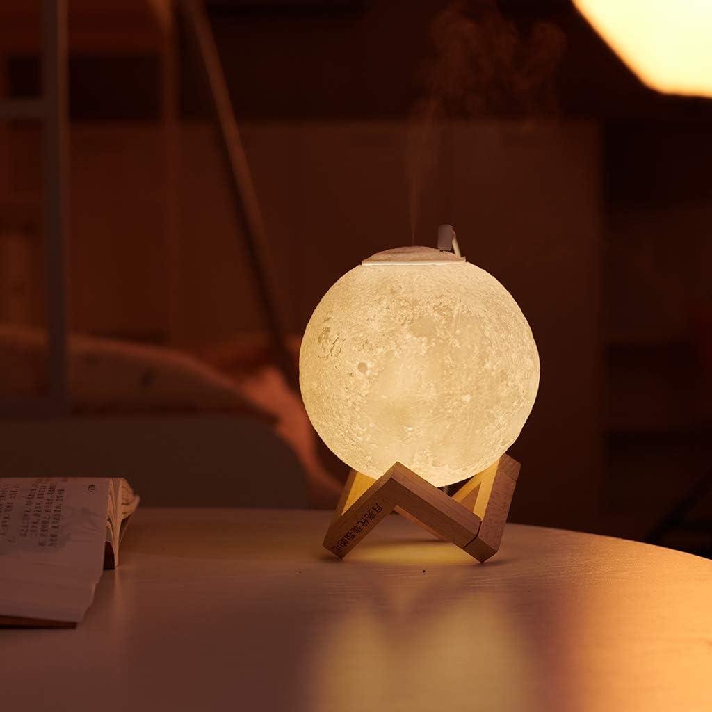 880ML 13cm Amuzocity Humidificador de Aire 3D L/ámpara de Luz Nocturna Difusor de Aroma Purificador Lunar USB