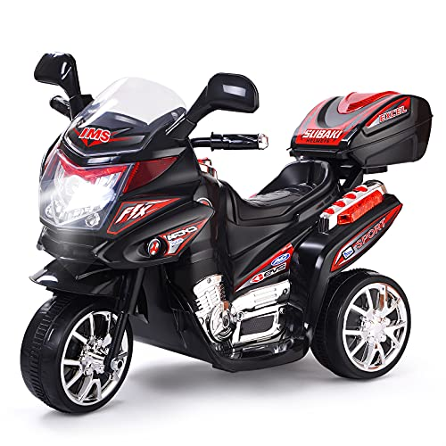 GYMAX Kids Electric Motorcycle, Children 3 Wheel Ride on Motorbike with...
