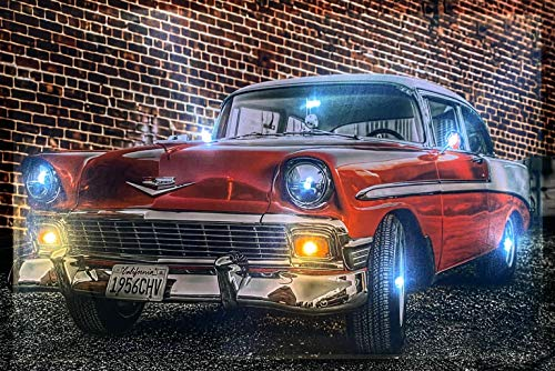 Samarkand-Lights LED-Bild mit Beleuchtung LED- Bilder Leinwandbild 65 x 45 cm Leuchtbild US CAR/Oldtimer/Classic CAR