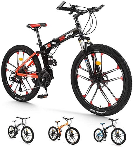 HCMNME Durable Bicycle, Folding Mountain Bike Bicycle Into 26-inch Double Shock-Absorbing Front and Rear Mechanical Disc Brakes, Off-Road Speed Racing Male and Female Student Bicycle (Color : Re