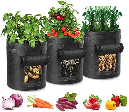 Potato Grow Bag, 3 Pack 7 Gallon, Garden Growing Bag with window Breathable...