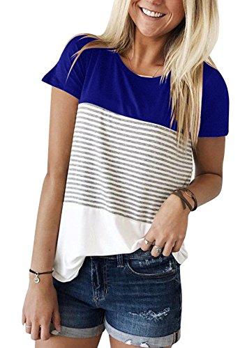 Yidarton Damen Sommer T-Shirt Casual Streifen Patchwork Kurzarm Oberteil Tops Bluse Shirt (Large, D-blau)