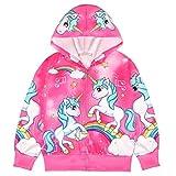 Veste Licorne Fille Sweat a Capuche Zipper Manteau Manches Longues Imprimé Unicorn Sweatshirt Automne Blousons Cadeau pour Enfants/120