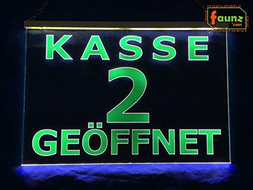 """LED Leuchtschild Kassenschild """"Kasse 2 geöffnet"""" grün auf transparent oder Ihr Wunschtext in wählbarer Farbkombi mit Steckernetzteil 230V ©faunz"""