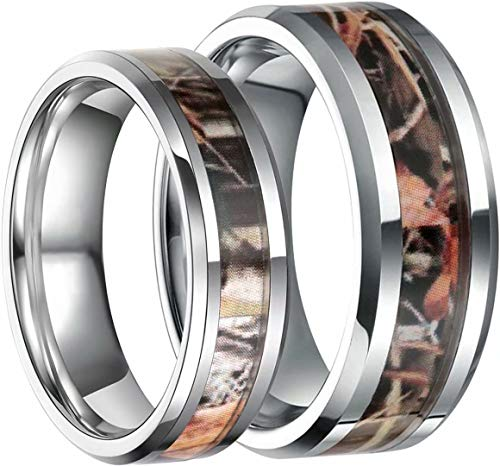 Frank S.Burton 8mm Tungsten Fall Hay Camouflage Inlay Hunting Ring Wedding Engagement Band Comfort Fit Size 5-10(9.5)
