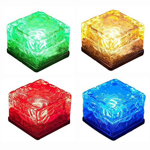 ASTRAEUS Brick Light Solar Ice Light Ice Cube Lights Buried Light Paver for Garden Courtyard Pathway Patio Outdoor Decoration 4 Pack RGB (Upgraded Package)