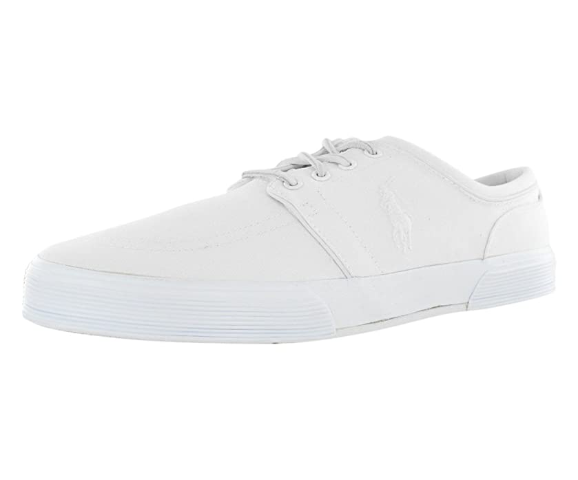 Polo Ralph Lauren Men's Faxon Low Whip White Canvas Sneakers (13)