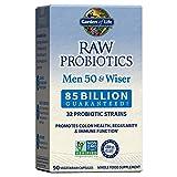 Garden of Life Raw Probiotics Men 50 & Wiser - Acidophilus and Bifidobacteria Probiotic-Created Vitamins, Minerals, Enzymes, and Prebiotics, Gluten Free, 90 Vegetarian Capsules