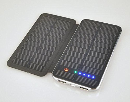 Dual Solar powerbank met 10000 mAh met 2 zonnepanelen opklapbaar. Leuke afwerking en uitstraling.