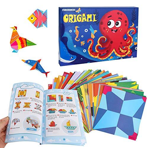Komake Carta Origami, Carta per Origami,152pcs Origami per Bambini Doppia Faccia Fogli Colorati di 72 Bellissimi Modelli Diversi con Manuale di Insegnamento Colorato - Set di Cartoncini Colorati