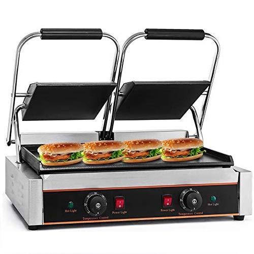 HODOY 3600 W Grill Elettrico In Acciaio inox 220V 50HZ Scalda Panini a Sandwich Con Piastra Piana Doppia Stampa a Sandwich Per Cucina, Ristorante, Festa (LD-813E)