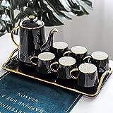 Ceramic Coffee Tea Set Box Nordic Phnom Penh Black Coffee Pot Cup Tray Set Home Afternoon Tea Set Water Set Gift