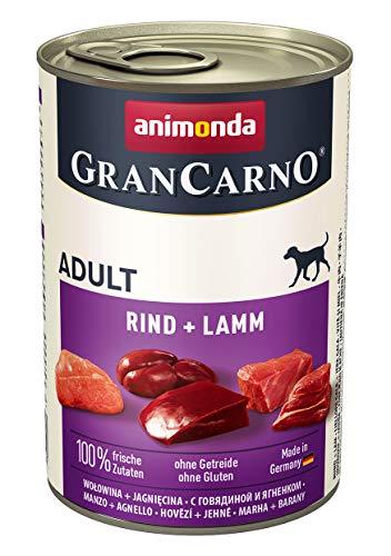 animonda Gran Carno adult Hundefutter, Nassfutter für erwachsene Hunde, Rind + Lamm, 6 x 400 g