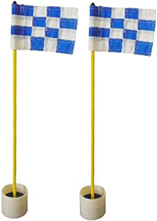 Kofull Backyard Practice Golf Hole Pole Cup Flag Stick, (2 Sets) Nylon Golf Putting Green Flagstick with Cup for Yard