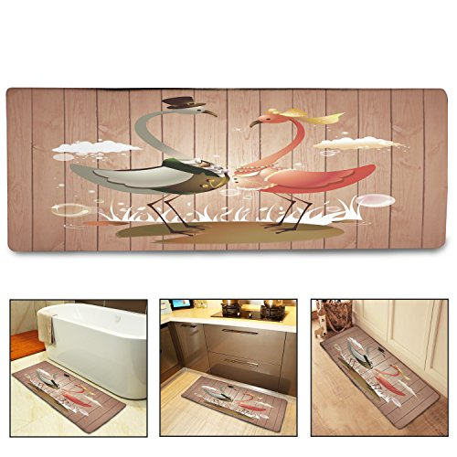 "QiyI Bath Mat Rug Super Soft Non-Slip Machine Washable Quickly Drying,for Office Door Mat,Kitchen Dining Living Hallway Bathroom 16""x48""-Cartoon Flamingo"