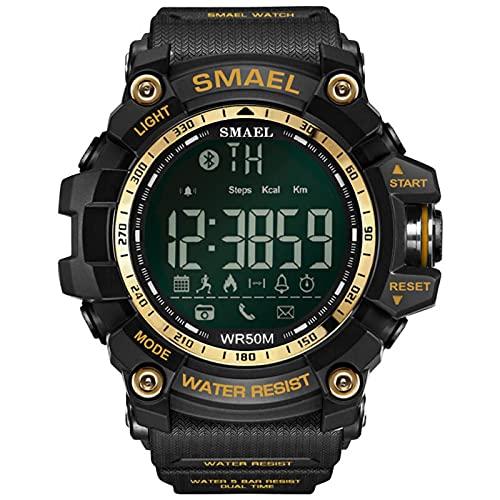 JTTM Reloj Digital para Hombre 50M Impermeable Deportivo Relojes De Pulsera Prueba para Hombre, Reloj Militar Negro LED con Alarma Luminoso Alarma Cronógrafo Bluetooth,Oro