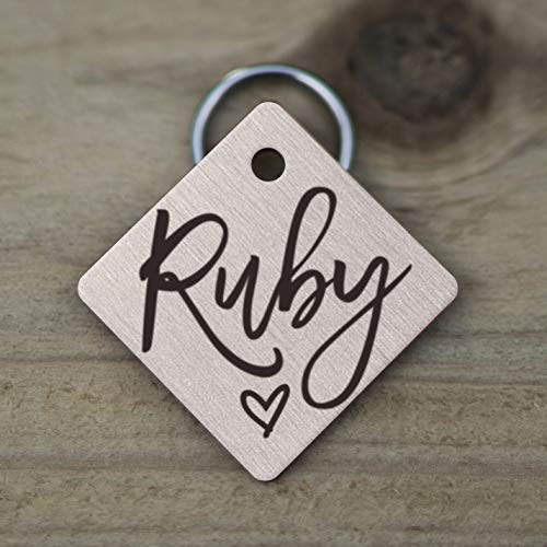 Mini Wim Stainless Steel Pet ID Tags, Personalized Dog Tag and Cat Tag, Rose Gold, and Silver, 5 Lines of Custom Text, Engraved on Both Sides, in Round, Bone, Diamond, and More (Diamond)