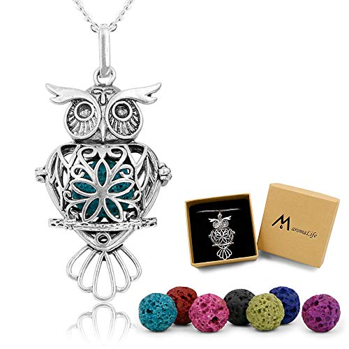 Maromalife Lava Stone Diffuser Necklace Owl Necklace Aromatherapy Pendant Locket 24 Inches Chain Gift Set with 7 Color Lava Rock