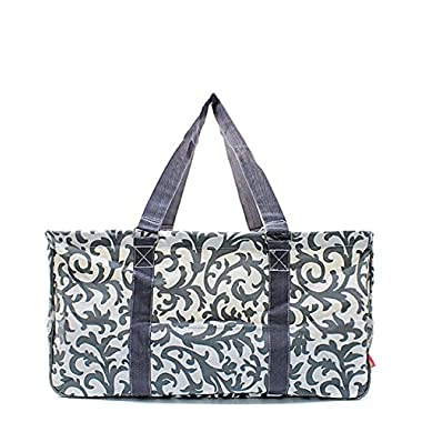 N. Gil All Purpose Open Top 23  Classic Extra Large Utility Tote Bag 2 (Damask Grey)