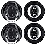 BOSS NX654 6.5' 800W 4-Way Car Audio Coaxial Speakers Stereo Black 4 Ohm