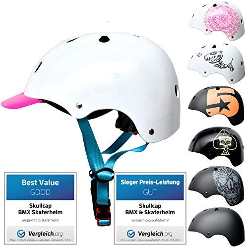 Skullcap® Skaterhelm Kinder Weiß SC Sapphire - Fahrradhelm Mädchen ab 6 Jahre Größe 53-55 cm - Scoot and Ride Helmet Kids - Skater Helm für BMX Scooter Inliner Fahrrad Skateboard Laufrad