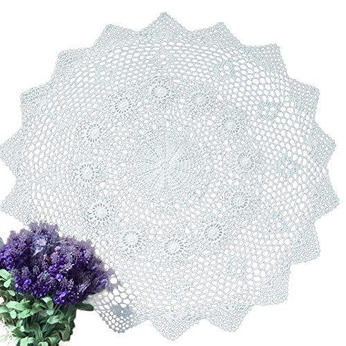 yizun, rund, Weiß, Baumwolle, Häkel-Tischdecke mit Spitze Doily handgefertigt, Durchmesser 29cm