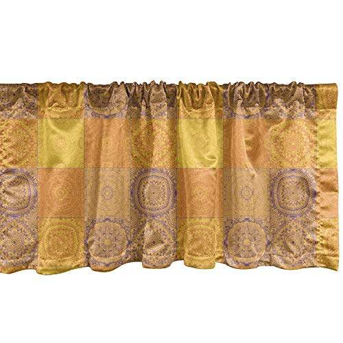 Ambesonne Ethnic Window Valance, Asian Design Patchwork Style Squares in Oriental Pattern Print, Curtain Valance for Kitchen Bedroom Decor with Rod Pocket, 54' X 12', Orange Violet