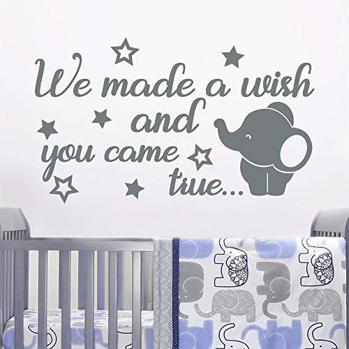 Vinilos decorativos de elefante de dibujos animados Pedimos un deseo y tú obtendrás tu deseo. Pegatinas de vinilo para habitación de bebé, dormitorio infantil, decoración del hogar, mural